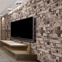 3D Wall Paper TV Background Decor Brick Stone Wallpaper Roll Vinyl WallPaper Roll Living Room For Living Room TV Background