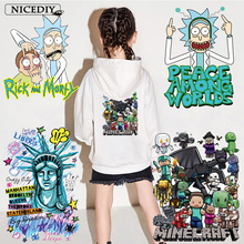 Nicediy Rick and Morty Heat Transfer Vinyl Sticker Iron On Transfers For Clothes Thermal Transfer Printed Applique On Clothes все цены