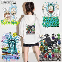 Nicediy Rick and Morty Heat Transfer Vinyl Sticker Iron On Transfers For Clothes Thermal Transfer Printed Applique On Clothes