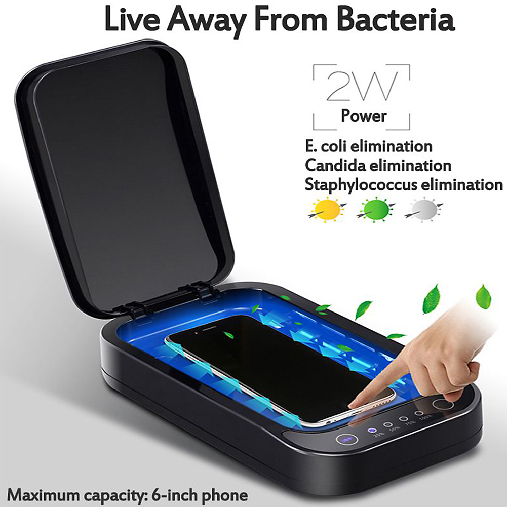 UV Disinfection Box Sanitizer Charger Prevent Flu For Mobile Phone Headphones Mask Sterilizer Kill 99.9% Viruses