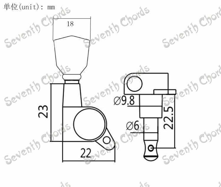 Набор из 6 Gold герметичный Шестерни Колки тюнеры для акустической Электрогитары-черного цвета, в форме трапеции, кнопка (YSZSD212-10)