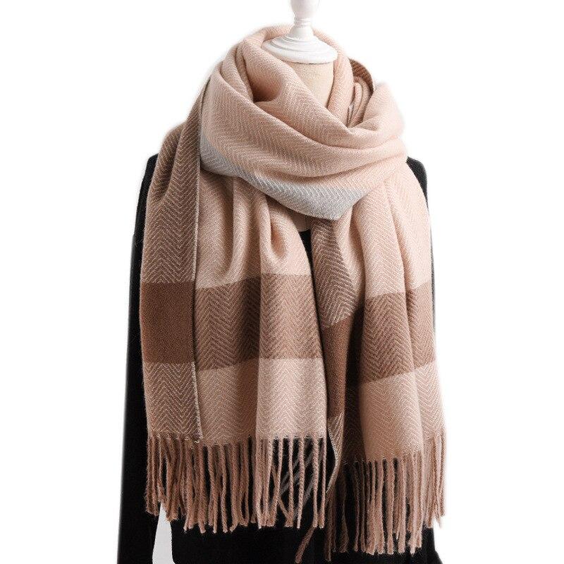 2019 ZIGZAG Thinker Warm Wool Cashmere Scarf Pashmina Tassels Women Winter Scarf