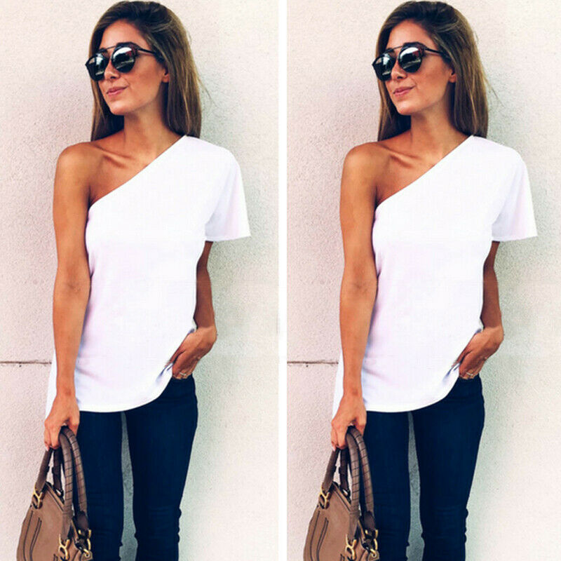 New Arrive Women Beach Off-shoulder White Base T-Shirts One Shoulder Tops Tee Casual Loose Summer Plus Size Summer Hot image