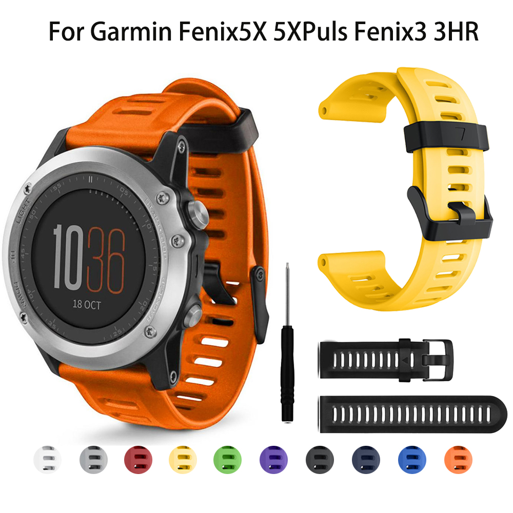 26mm Silicone Strap Watchband For Garmin Fenix 3 HR 5X Plus 6X PRO 3 Sapphire Watch Smart Bracelet Sport Replacement Wristband