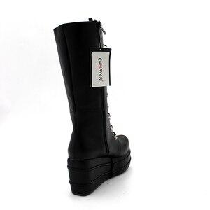 Image 3 - Enmayer botas de motociclista, sapatos góticos punk, botas cosplay, salto alto plataforma, sexy, com zíper, para inverno
