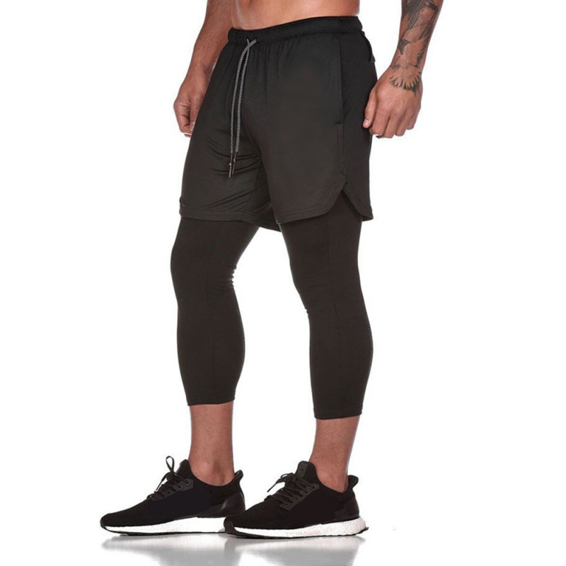 2020 New Arrival Latest Men's Sports Shorts Mesh Double-layer Fitness Trousers Fake Two-piece Cropped Trousers