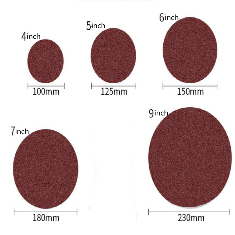 4inch 5inch 6inch 7inch 9inch 60-1000 mesh flocking Self adhesive Round flocking sandpaper sand paper sanding pad 100pcs/lot