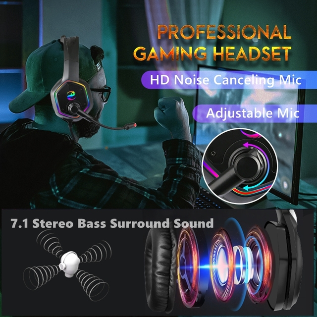 7.1 RGB LED Gaming Headset For PC PS4 PS5 Over Ear Gamer Headphones with Microphone Noise Canceling Computer Phone Gaming Helmet 3