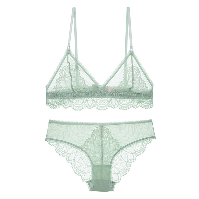 Sexy Lace Bralette Set Mesh Lace Patchwork Ultra Thin Transparent Bra Set Unlined Wireless Triangle Cup Underwear Lingerie Women