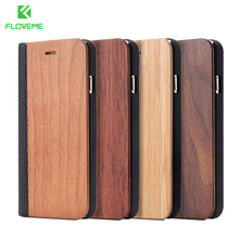 FLOVEME Phone Case For iPhone 11 Pro Max X XS XR Bamboo Natural Wood 7 8 6 6S Plus Flip Leather Wallet Cover