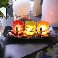 3pcs European-style LED Light Candle Holder Glass Candlestick Cup Wedding Bar EID Mubarak Decoration Crafts Stand