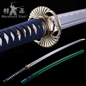 Real Katana-1045 japonés, hoja de acero al carbono, navaja completa Tang afilada, espada samurái de 41 pulgadas, recién llegada hecha a mano, verde brillante