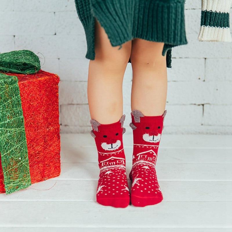 3 Pairs Children Socks Set Christmas Gift Box Cartoon Cute Girls boy Socks Red Baby Winter Kids Christmas Socks with Box