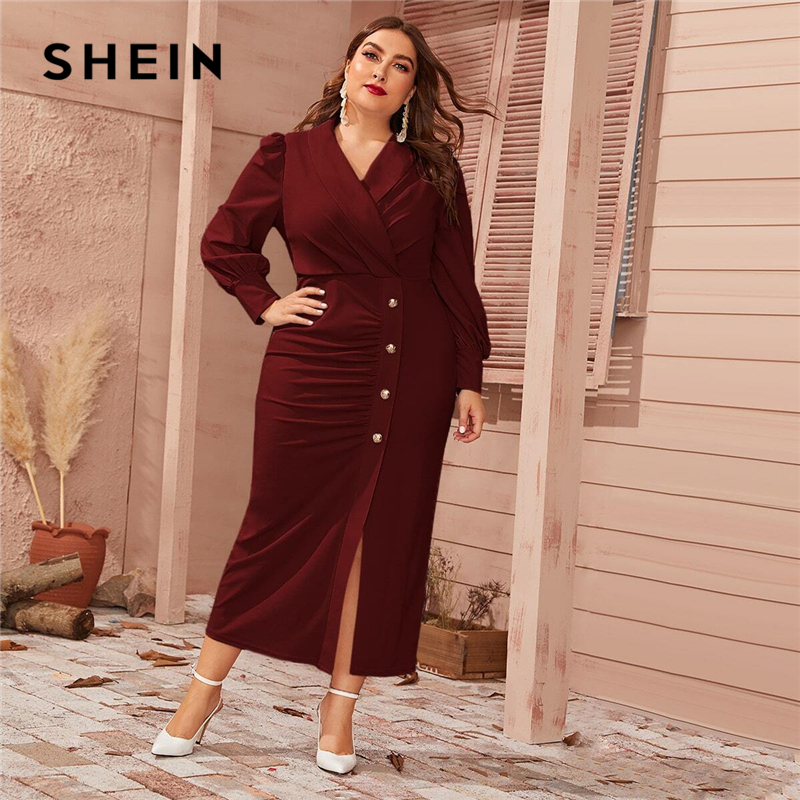 SHEIN Plus Size Burgundy Button Front Shawl Collar Lantern Sleeve Dress Women Spring Plus High Waist Elegant Fitted Maxi Dresses