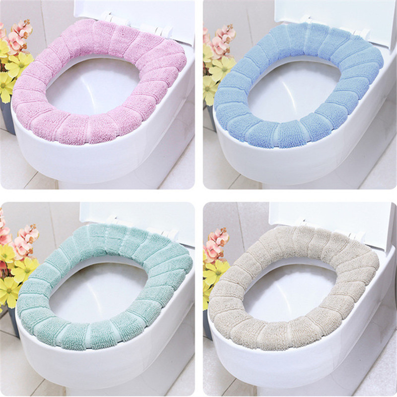 1 Pcs Thick Coral Velvet Luxury Toilet Seat Cover Set Soft Warm Zipper One / Two-piece Toilet Case Waterproof Bathroom WC Cover