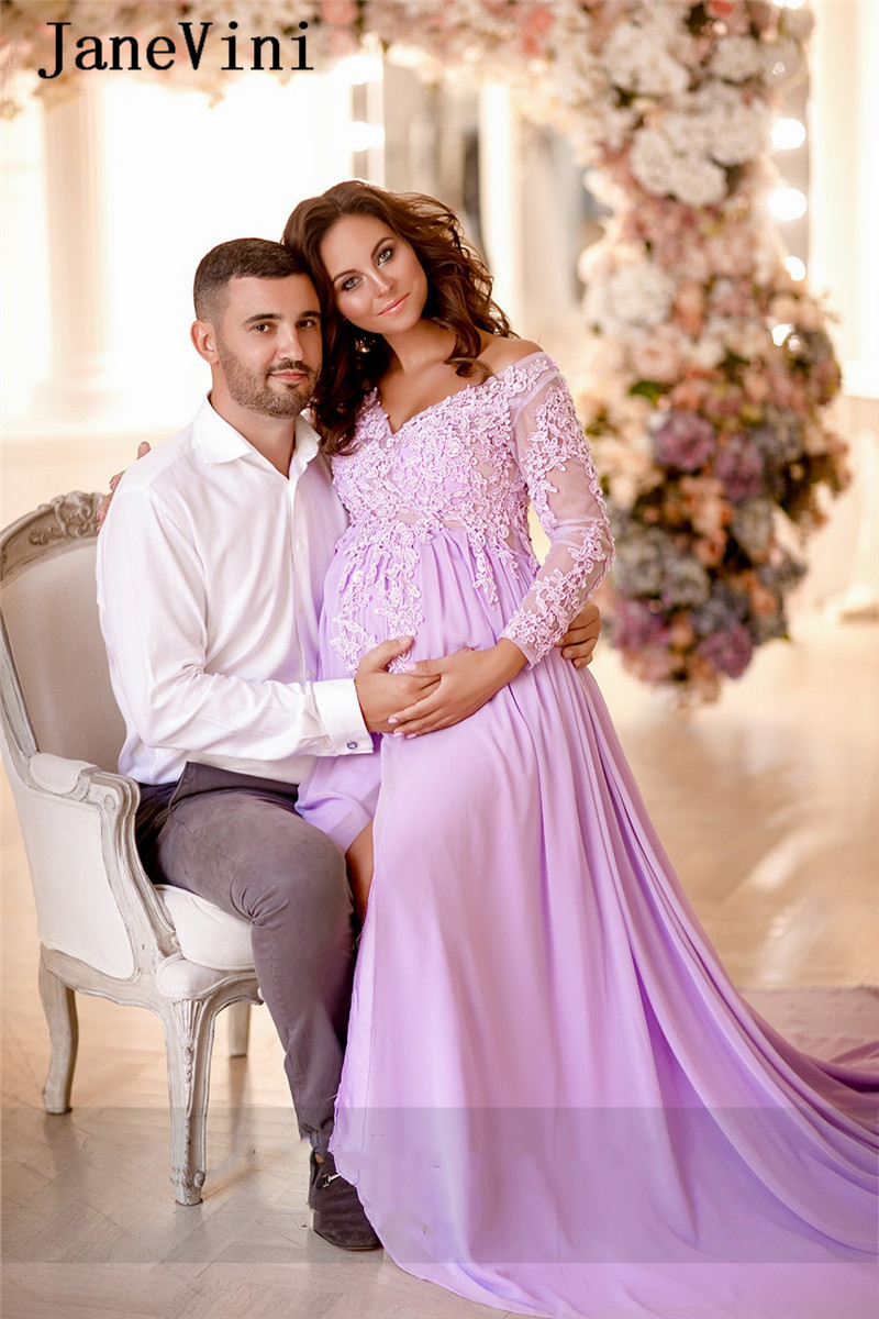 JaneVini 2020 Elegant Maternity Long Sleeve Prom Dresses V Neck Lace Applique Beaded A Line Empire Pregnant Chiffon Formal Dress