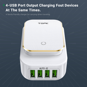 Image 3 - TOPK L Power 22W 4.4A(Max) USB Charger for iPhone 8 X 7 6 LED Lamp Smart Auto ID USB Wall Mobile Phone Charger EU/US/UK Plug