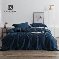 Lanlika Luxury 100% Blue Silk 25 Momme Bedding Set Healthy Bedspread Duvet Cover Queen King Bed Linen Set For Adult Kid Bedroom