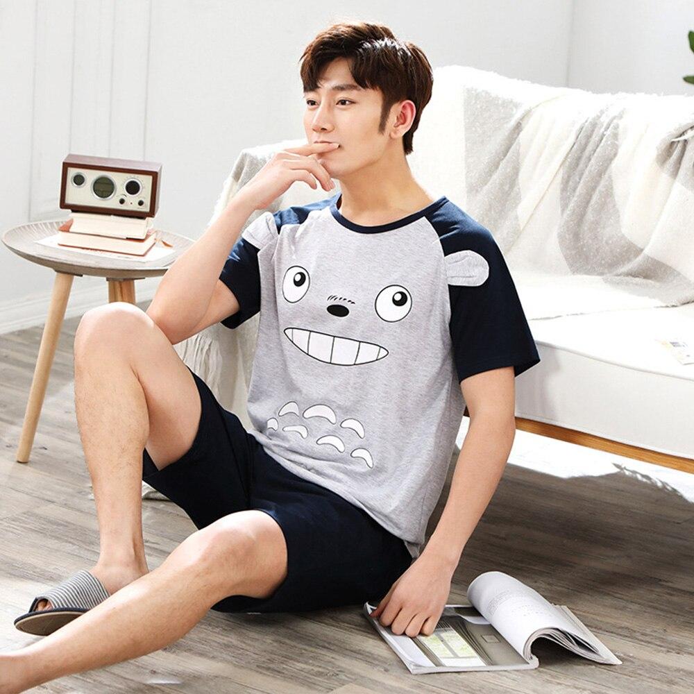 2020 Men Pajamas Set Cartoon 100% Cotton Plus Size L-3XL Pyjama Short Sleeve Shirt +Shorts Casual Sleepwear Suit Male Loungewear
