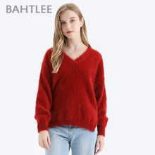 BAHTLEE Women Angora V-Neck Pullovers Sweater Pure color Autumn Winter Wool Knitted Jumper Long Sleeves loose style(China)