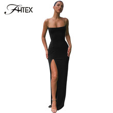Strapless Split Sexy Cami Long Dress Women Sleeveless Evening Party Maxi Dress Night Out Prom Club Dress Robe(China)