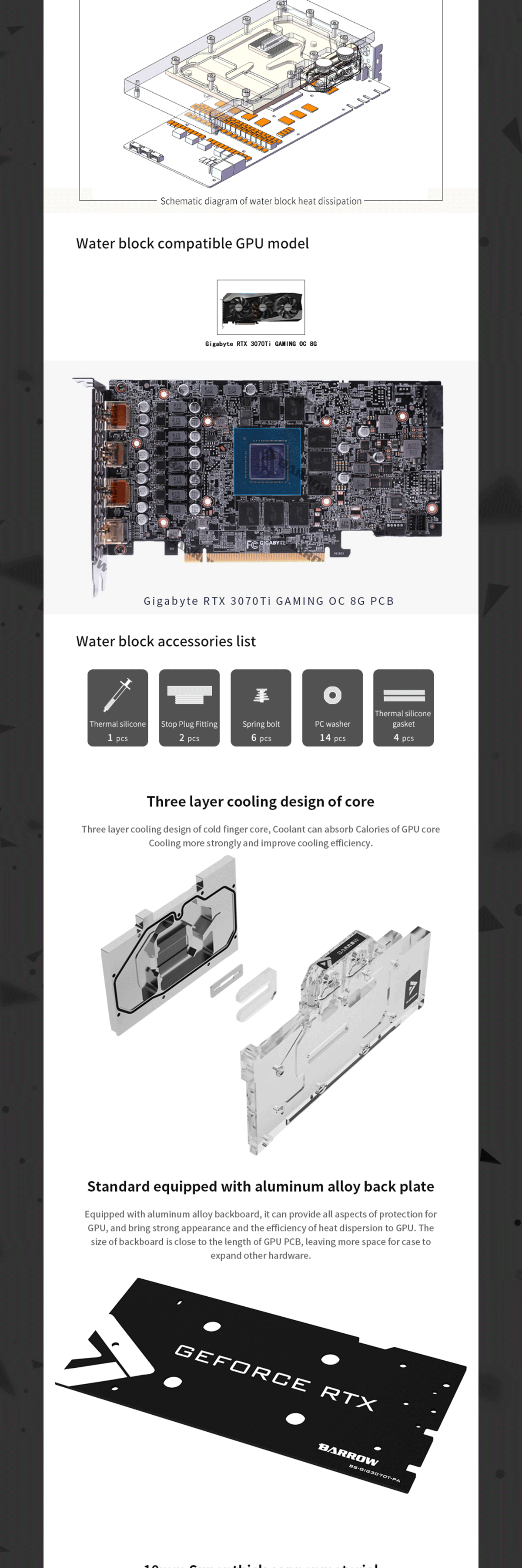 Barrow GPU Water Block , For Gigabyte 3070Ti GAMING OC 8G GPU Card , Full Cover Water Cooling With Backplate BS-GIG3070T-PA