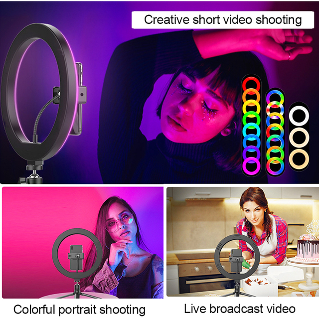 Orsda 10-13 Inch RGB Ring Light Tripod LED Ring Light Selfie Ring Light with Stand RGB 26 Colors Video Light For Youtube Tik Tok 4