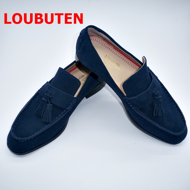 Buy LOUBUTEN Blue Suede Tassel Loafers Designer Leather Men Handmade Boat Shoes mocasines hombre Casual Shoes Men's Dress Shoes