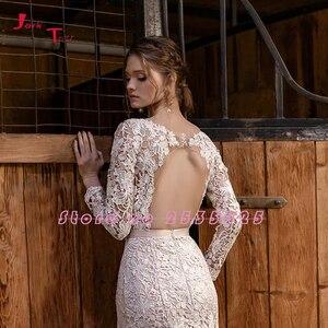 Image 4 - Vestidos De novia De sirena De manga larga, novedad, 2020, Vestido De novia Sereia abierto, transparentes, Sexy, vestidos De boda De encaje