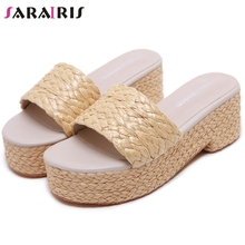 цены SARAIRIS Open Toe Slip On Platform Pumps Women Solid High Wedges Sandals Women Casual Beach Pumps Ladies Summer Shoes
