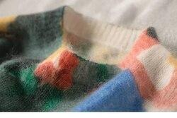 Frauen Pullover Mohair Oansatz Ölgemälde Druck Bunte Französisch Stil Lose Schlank Knit Pull Oben