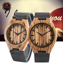 REDFIRE Classic Zebra-wood Couple Wood Watches Quartz Genuin