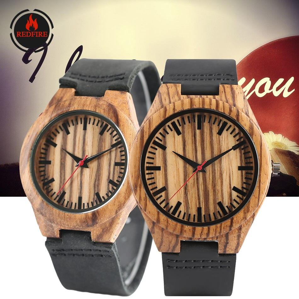 Relógios de Madeira de Quartzo Relógio de Couro Presentes para o Aniversário de Casamento Redfire Clássico Zebra-madeira Casal Genuíno Amantes Relógios Reloj