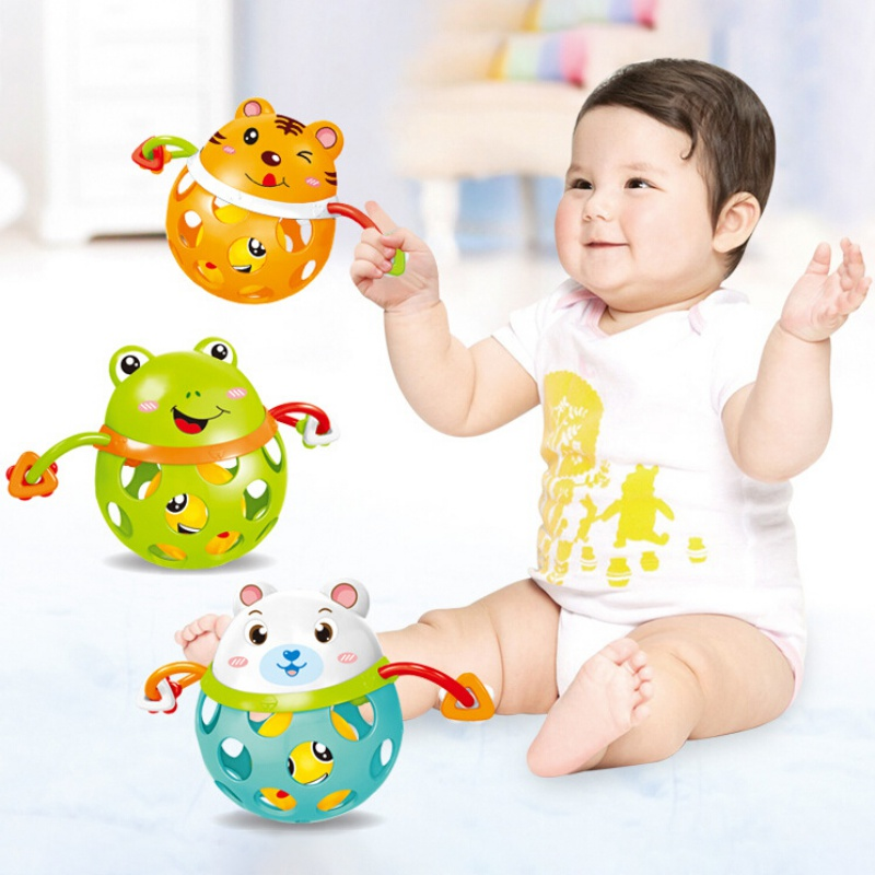 Baby Cartoon Animal Tumbler Soft Rubber Hollow Rattle Teethers Ball Toy Educational Toy Gift