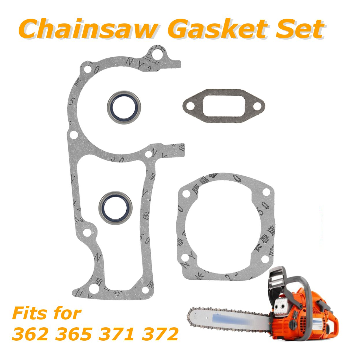 Chain Saw Gasket Set With Oil Seals For Husqvarna 362 365 371 372 Chainsaws Metal