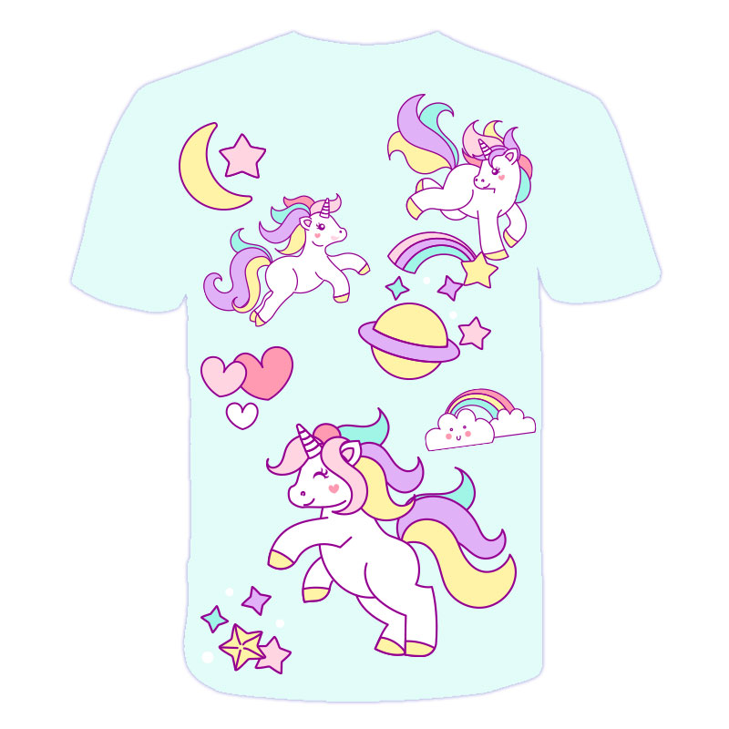 H09e49e1434c846488f14654c1c5b9f7bg Baby Girls T-shirt 4 5 6 7 8 9 10 11 12 13 14 Years Unicorn Kids T Shirt Children Clothes Summer Unicorn T shirts Girl s Tee