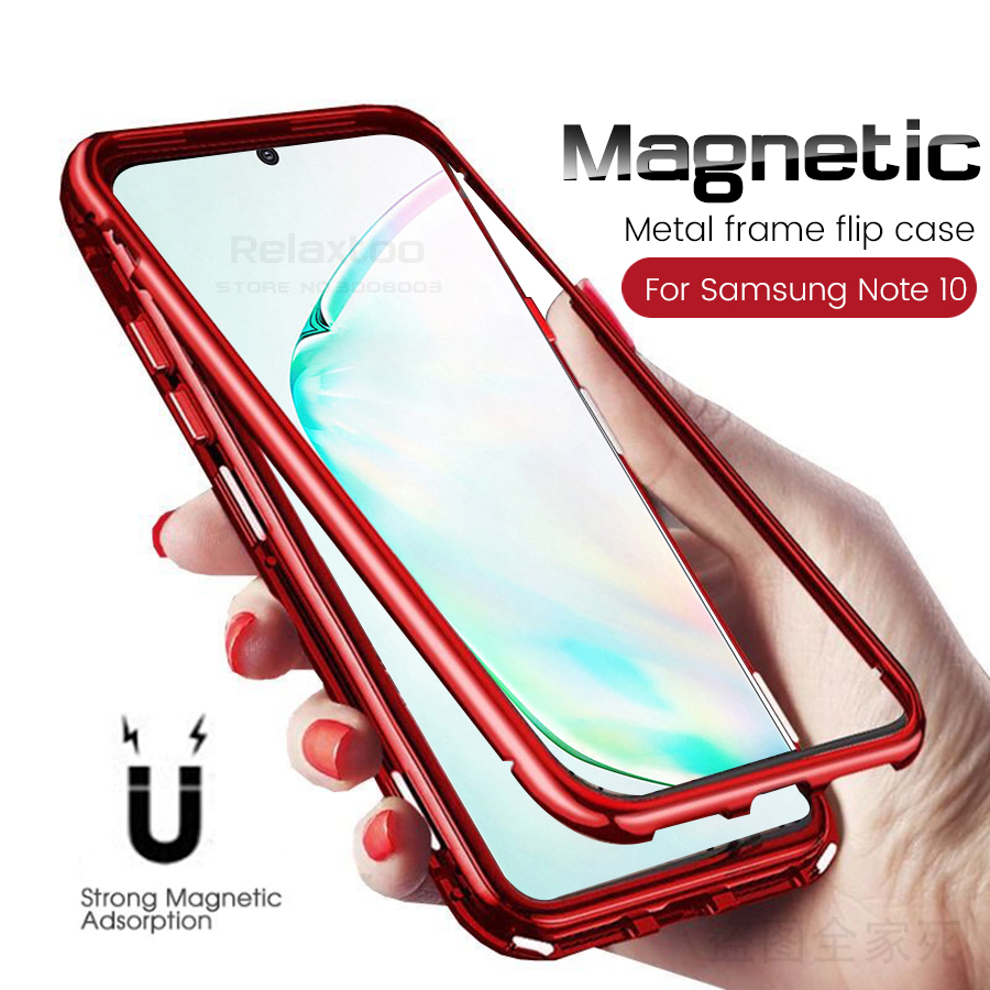 note 10 case for samsung note 10 plus cover magnetic flip case for samsung galaxy note 10 pro 9 8 note9 note8 note10+ back glass