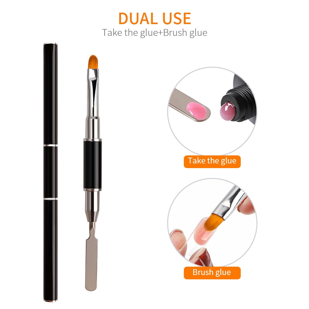 Dual Ended Nail Art Acrylic UV Gel Extension Builder Flower Painting Pen Brush UV Gel Remover Spatula Stick Nail Manicure Tool