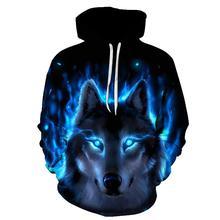 2019 3D Funny Wolf เสื้อสำหรับชาย 3D เสื้อกันหนาว Harajuku Hoodie อะนิเมะ tracksuit 3D พิมพ์เสื้อ Casual Pullover hoodie