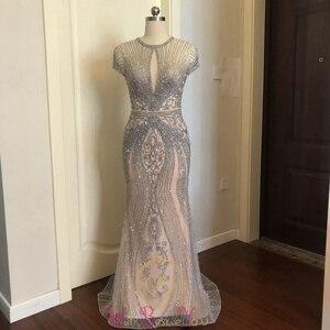 Image 2 - Champagne gris lujo sirena con cuentas de cristal vestidos de noche 2019 nuevo azul marino cuello redondo mangas cortas Formal vestidos largos de fiesta