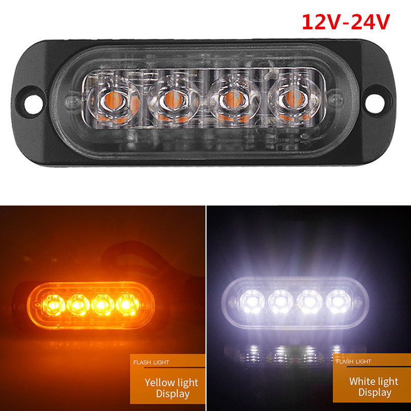4 LED Truck Trailer Light Emergency Lights Ultra-thin Side Light Lamp 12V-24V 12W LED Pickup Strobe Light Tail Light