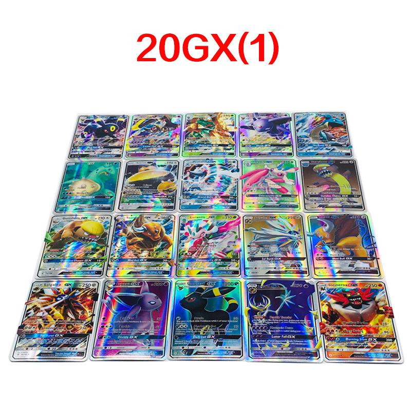 20pcs 39g 1*6.5*9CM GX1 GX2 Game Collection Cards For Funs Children English Pikachued Toy