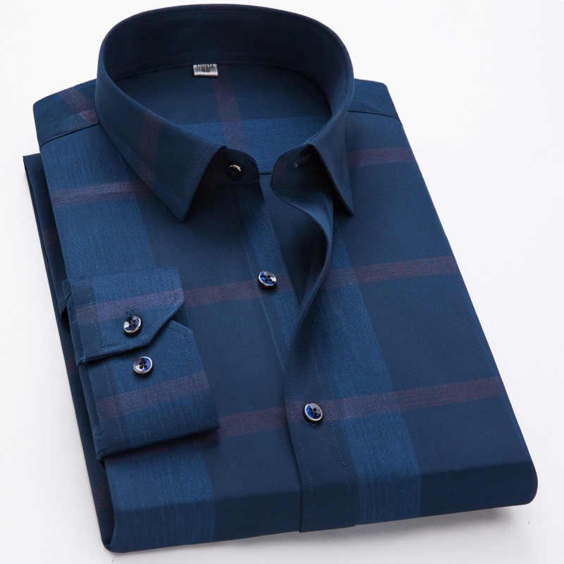 Koszule męskie 100% bawełny z długim rękawem koszule na co dzień mężczyzna nowy projektant mody wygodne formalne duża kratka brązujący koszula