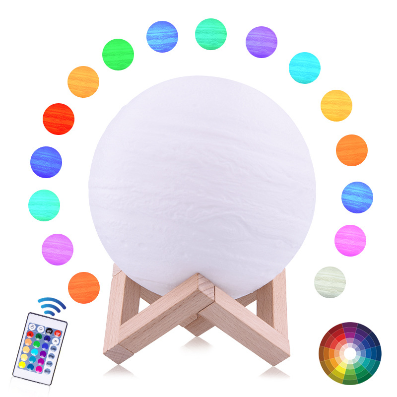 Colorful 3D Printing Jupiter Lamp Moon Light Earth 16 Colors Remote Contorl Rechargeable Night Light Child Baby Bedroom Decor