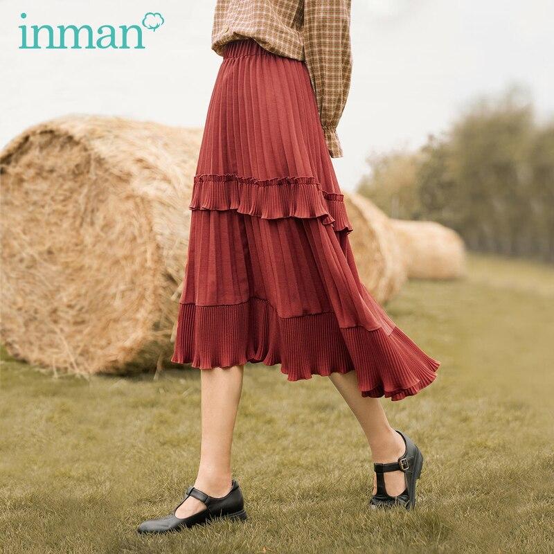 Inman 2020 outono nova chegada estilo japonês literário moda plissado saia a linha versão de perna longa saia plissada