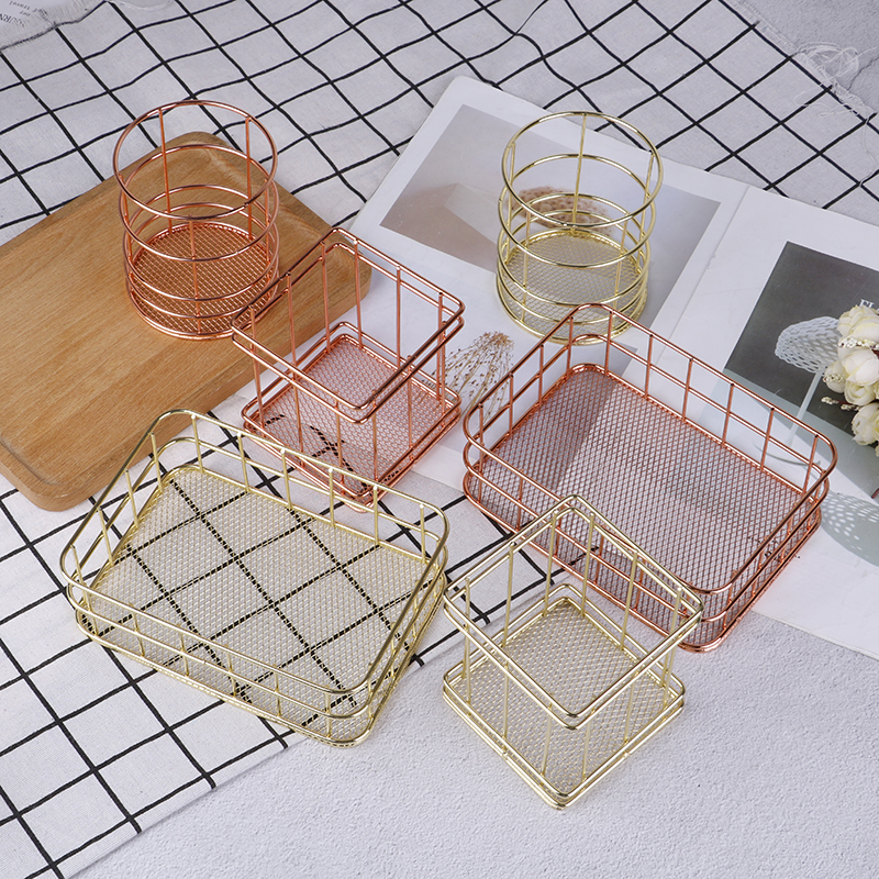 Dressing Table Makeup Cosmetic Organizer Box Rose Gold Iron Art Nordic Makeup Organizer Basket Eyeliner Brush Set Storage Cup