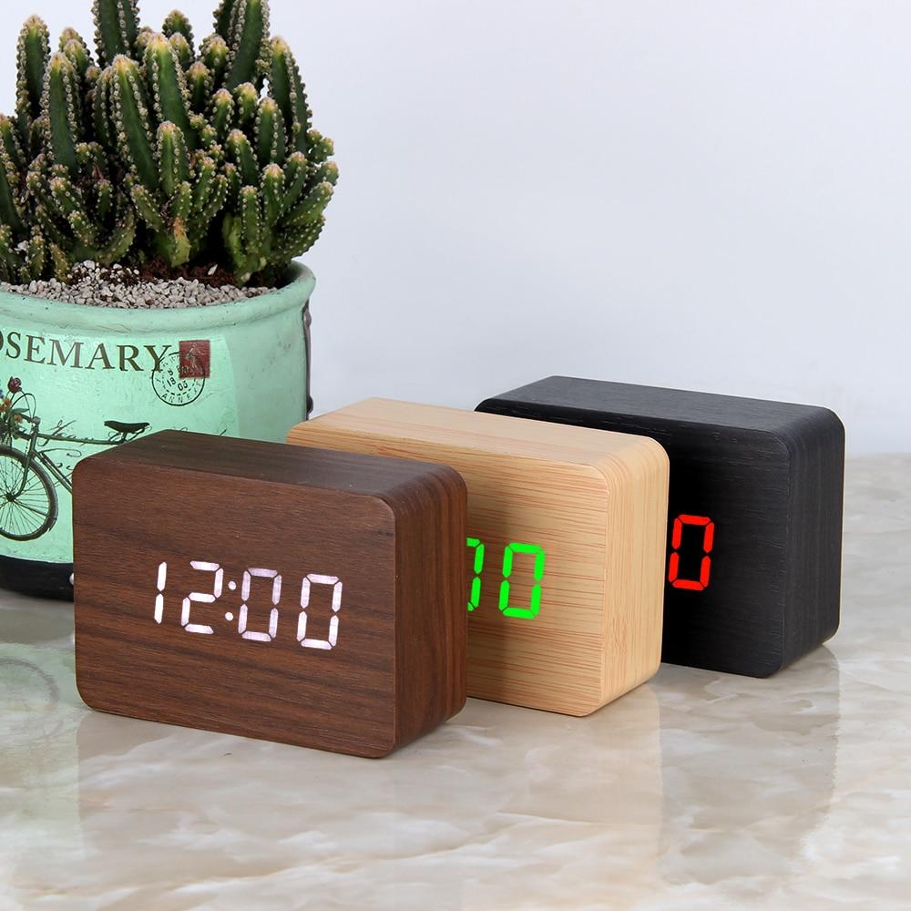 Despertadores Desktop Relógios de Mesa Relógio De Madeira LED Digital Indicador de Temperatura Eletrônico de Controle de Voz Despertador Home Decor