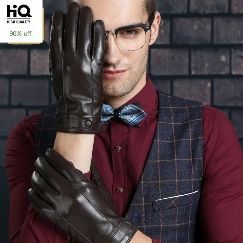 2020 High Quality Man Short Gloves Fashion Natural Leather Male Gloves Solid Motorcycle Gloves Fleece Lining Guantes Invierno