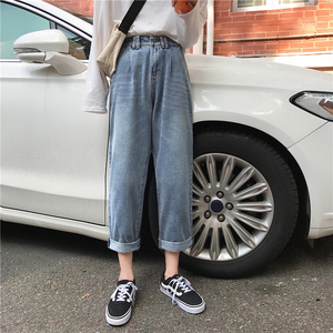 Image 4 - Jeans Women High Waist Loose Straight Leisure Ankle length All match Womens Jean Korean Style Simple Student Trendy Daily Chic