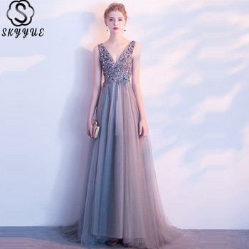 Sequined Evening Gown Skyyue K385 Tank Sleeveless Backless Robe De Soiree A-Line Plus Size Crepe Special Occasion Dress